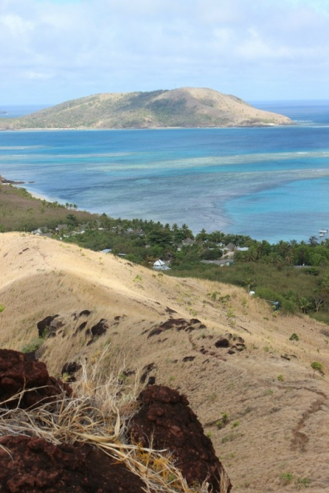 Ridgeline hiking on Nacula Island in the Yasawa Islands of Fiji