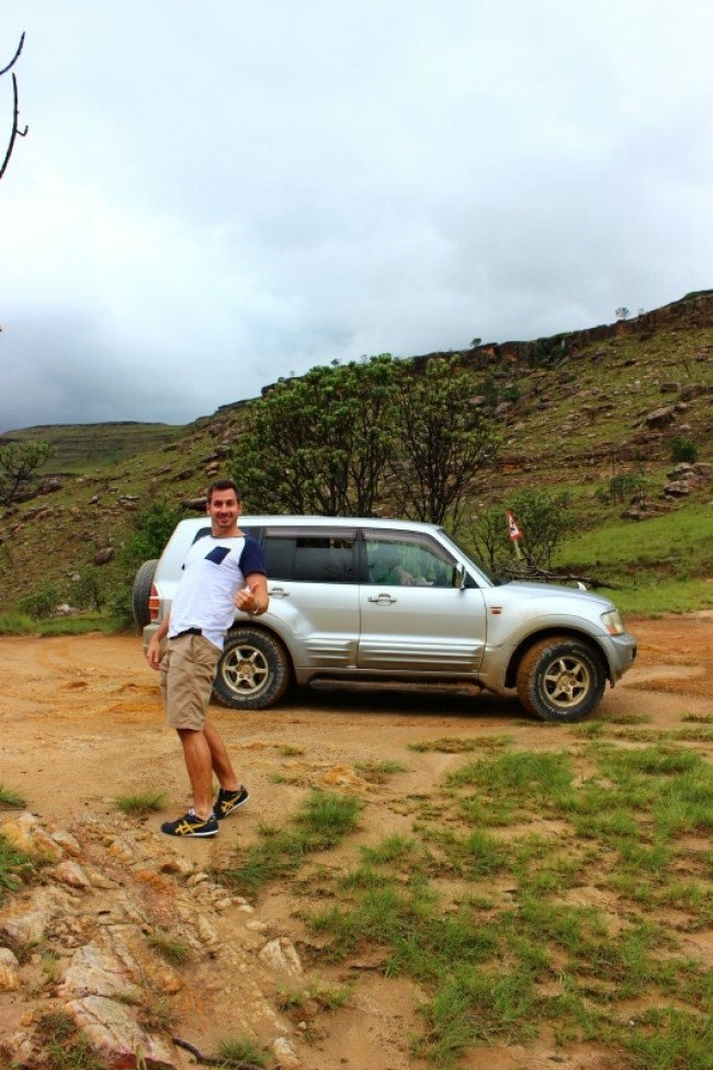 Driving up Sani Pass from South Africa to Lesotho