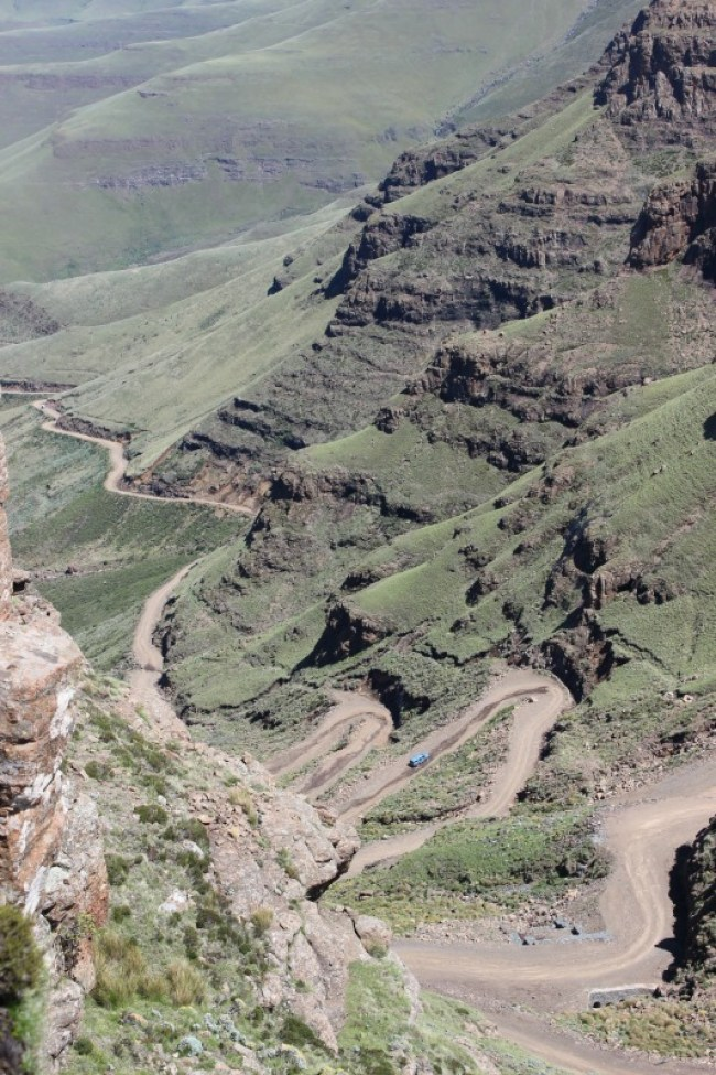 Driving down the Sani Pass in Lesotho