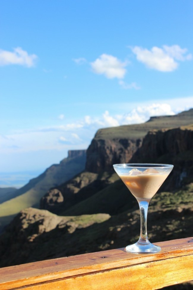 Relaxing with an amarula cocktail at the Sani Mountain Lodge in Sani Top. Lesotho