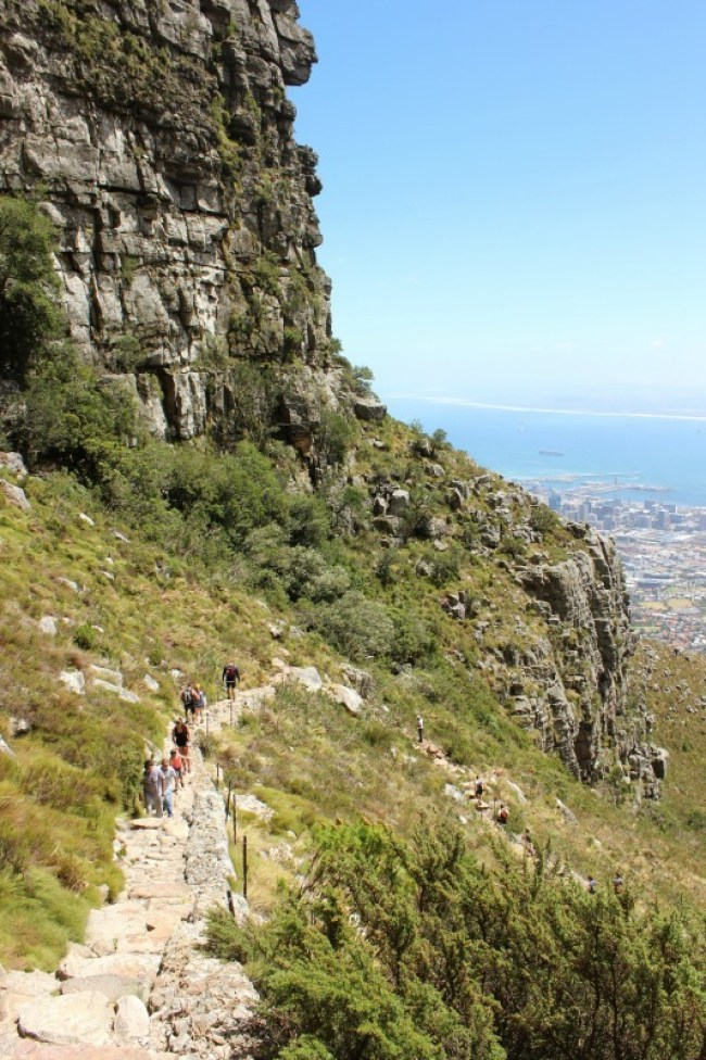 Hiking up Table Mountain - one of the best places to visit in Cape Town