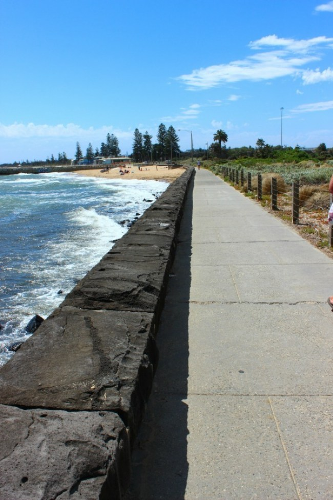 Doing the coastal walk from Brighton Beach to St Kilda in Melbourne