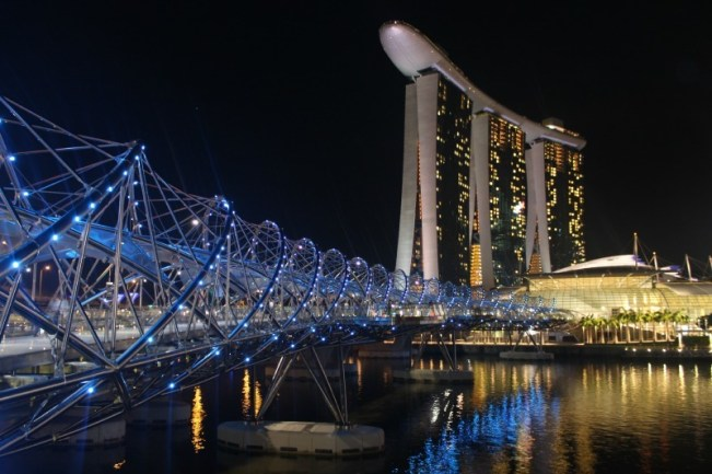 Helix bridge and Marina Bay Sands in Singapore