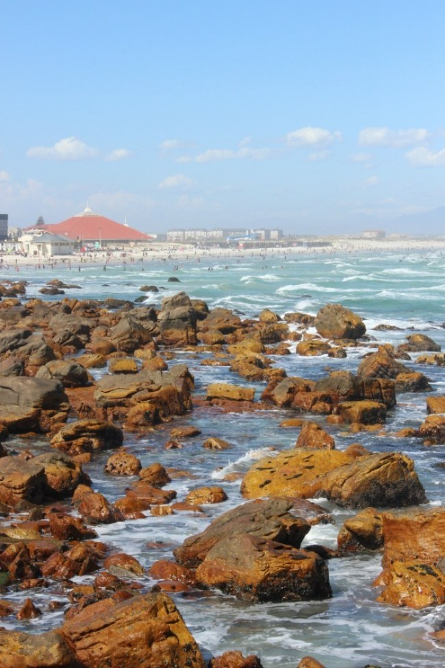 View over to Muizenberg in South Africa - one of the popular coastal villages of Cape Town