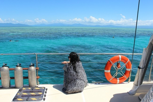 Looking out over the Great Barrier Reef
