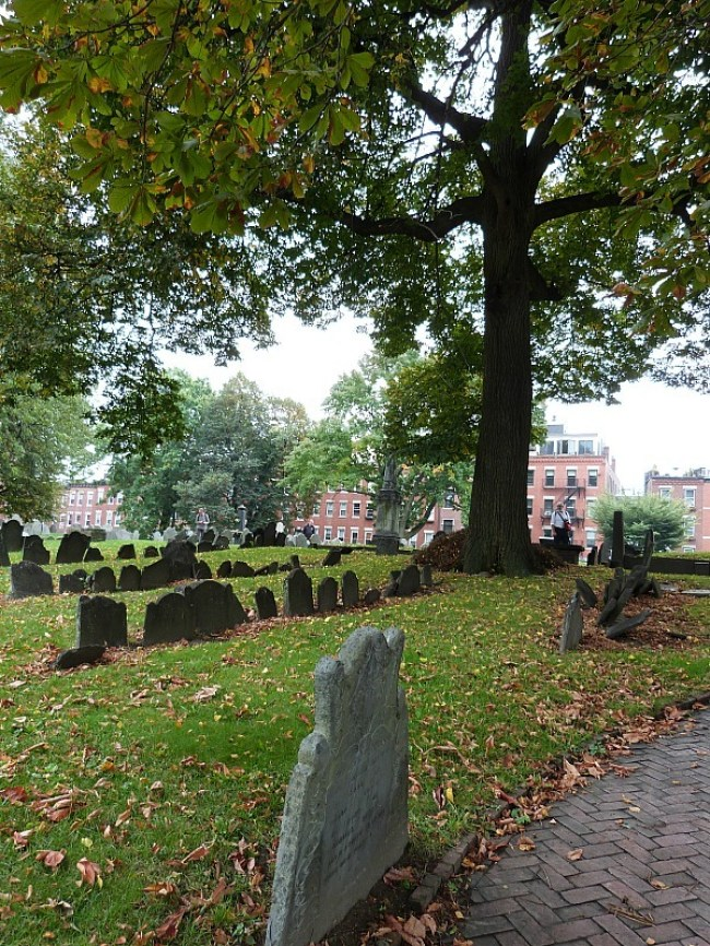 Copp's Hill Burial Ground during fall in Boston