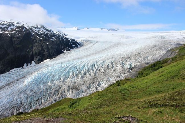 Exit Glacier in Kenai Fjords National Park on the Harding Icefield trail during month one of digital nomad life