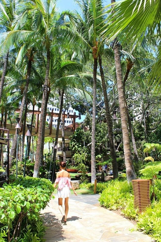 Lush grounds of Royal Hawaiian Hotel in Waikiki