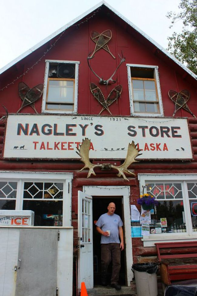 Visiting Nagley's Store in Talkeetna, Alaska during month two of digital nomad life
