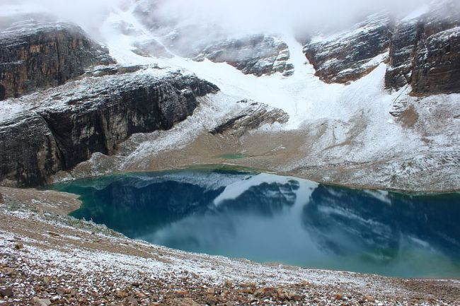 Lake Oesa from the Abbot Pass Hut hike during month three of digital nomad life