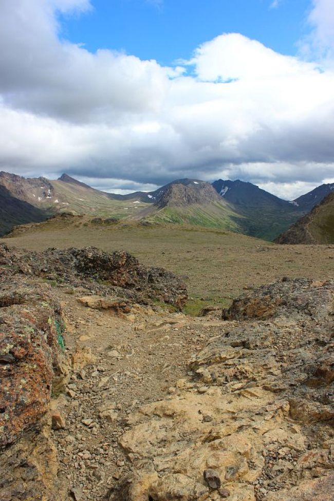 The rocky summit of Flattop Mountain near Anchorage Alaska