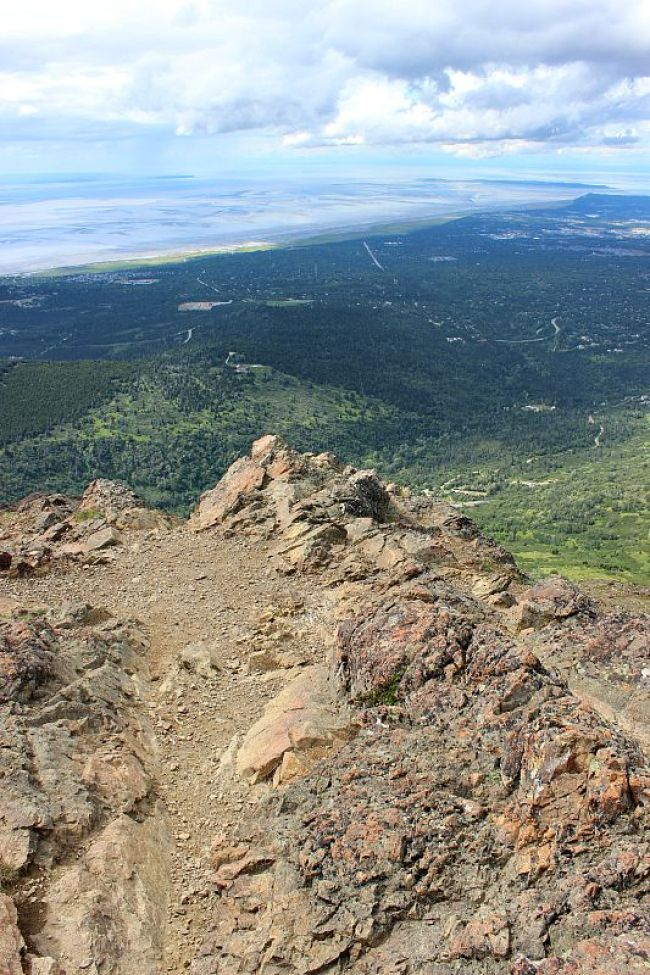 View from the summit of Flattop Mountain over Anchorage, Alaska