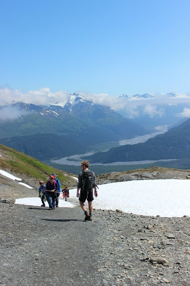 Hiking back down from the Harding Icefield in Alaska