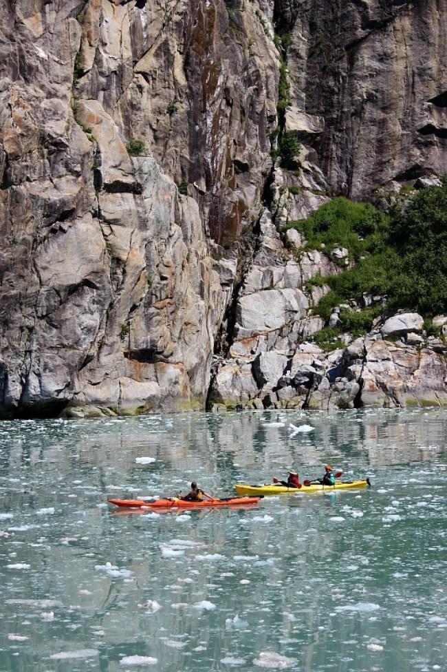 Kayakers in Northwestern Fjord in Kenai Fjords National Park, Alaska