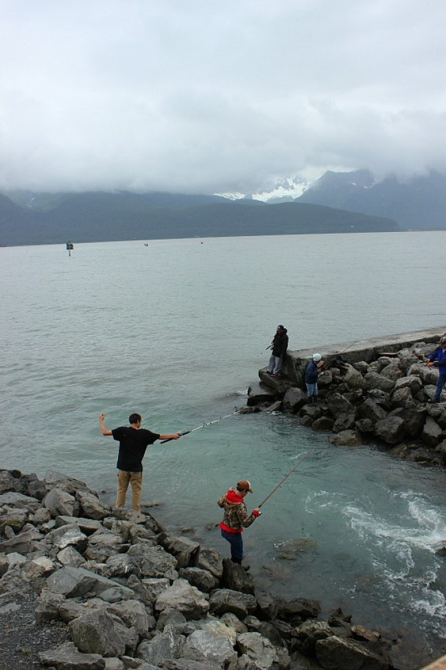 Local fishermen fishing for salmon in Seward Alaska
