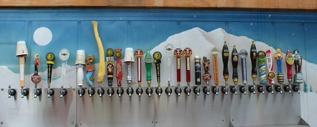 Craft beer selection at Wildflower Cafe in Talkeetna Alaska