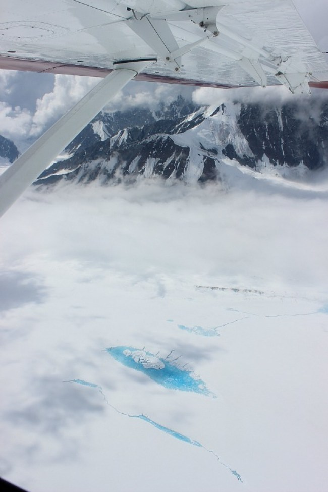Glacial meltwater pools on my Denali Flight tour