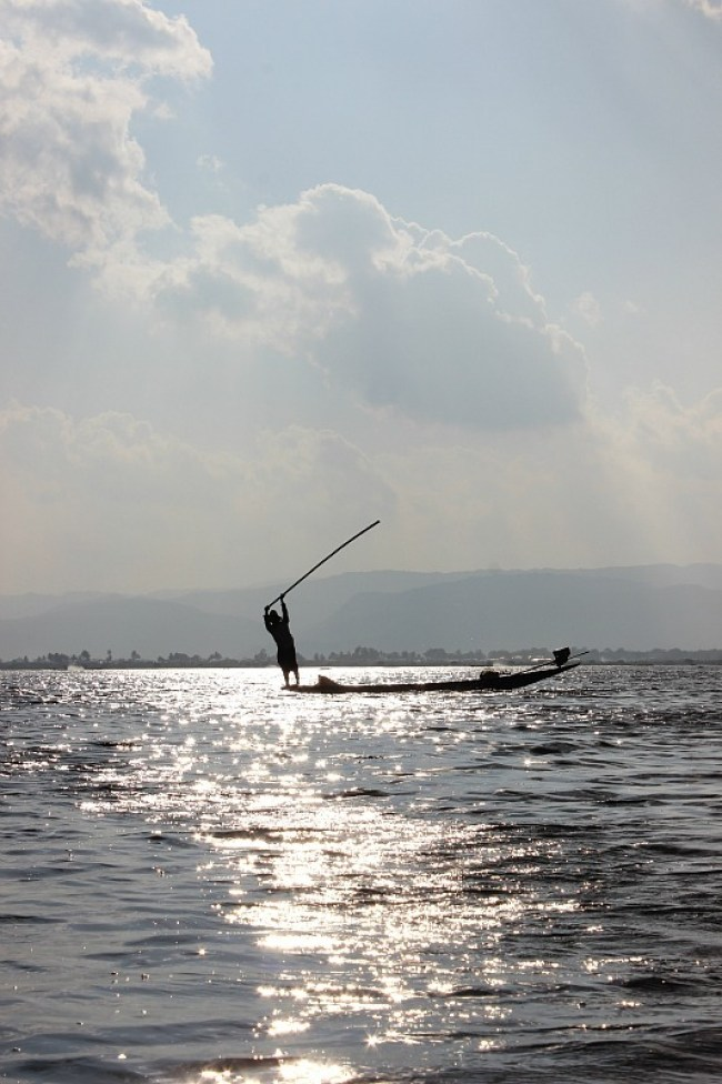 Watching the fisherman on Inle Lake during month six of digital nomad life