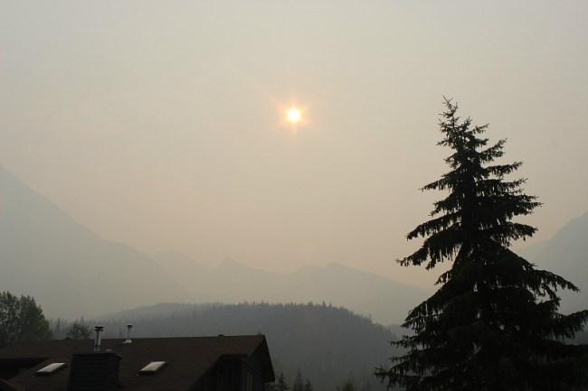 Smoky skies in Field BC