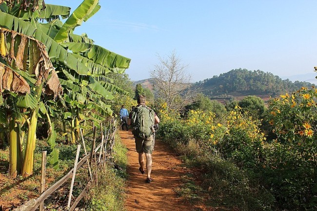 Trekking from Kalaw to Inle Lake during month six of digital nomad life