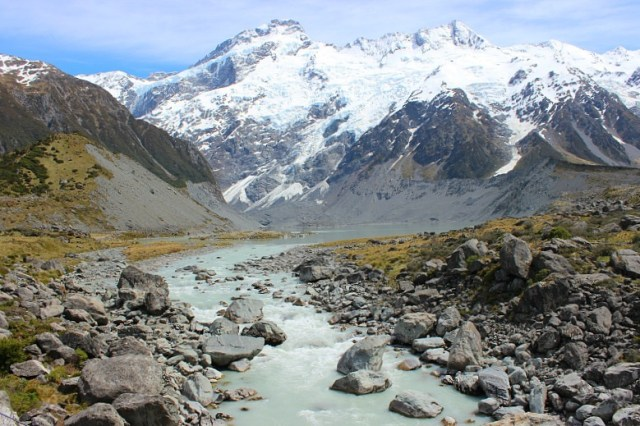 River in the Hooker Valley on the way to Mount Cook