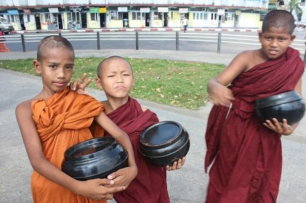 Novice monks in Yangon Myanmar