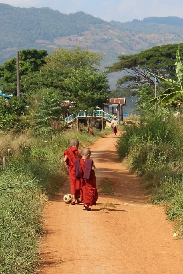 Novice monks playing ball - seen while trekking Kalaw to Inle Lake