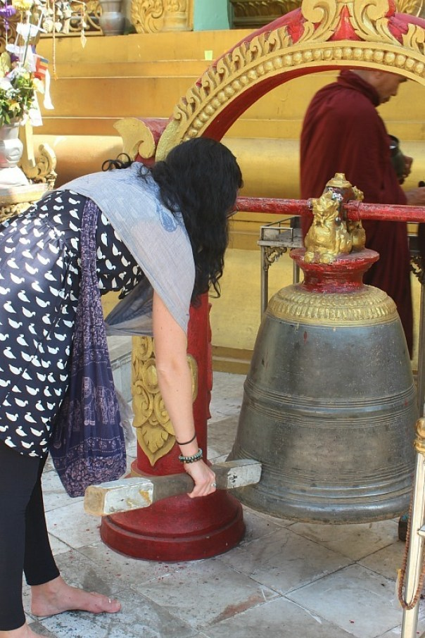 Sule Pagoda bell ringing in Yangon Myanmar