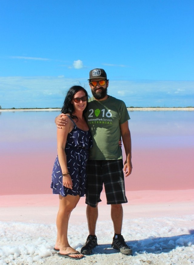 Visiting Las Coloradas pink lake in Mexico during month twenty of digital nomad life