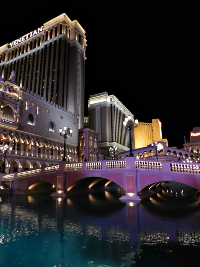 Venetian Hotel Las Vegas at night - visited during month twenty four of digital nomad life