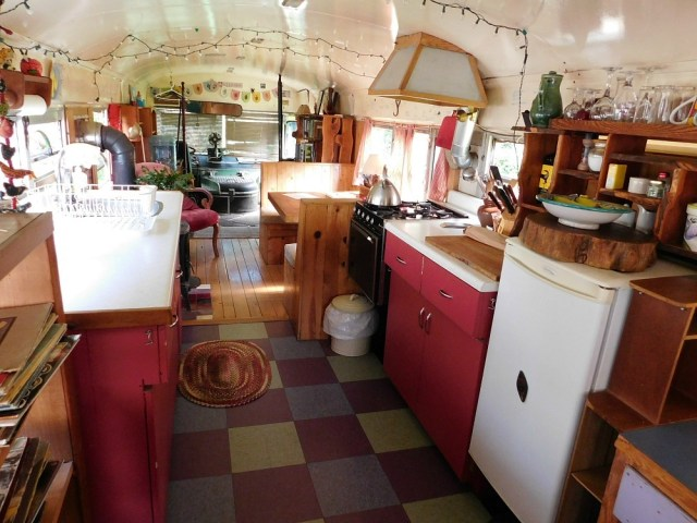 Inside a house bus booked through Glamping Hub on Salt Spring Island Canada - visited during month twenty four of digital nomad life