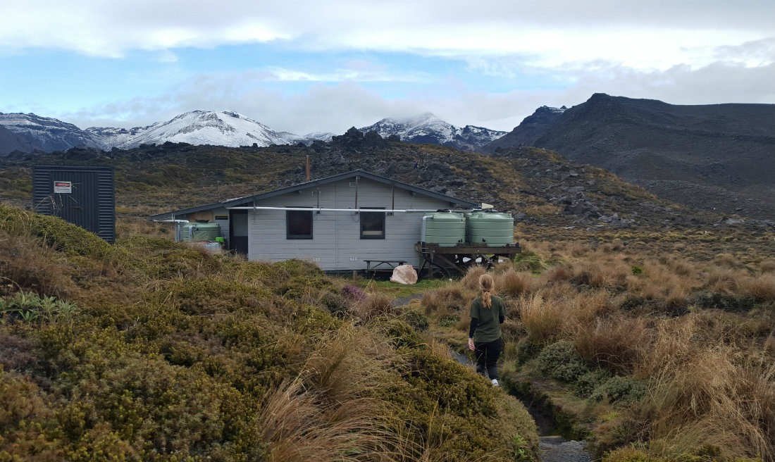Approaching Oturere Hut on the Tongariro Northern Circuit