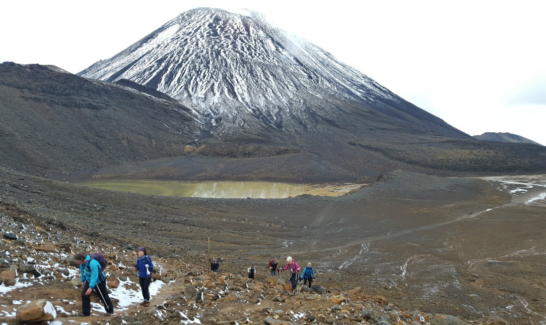 Descending from Red Crater to South Crater on the Tongariro Northern Circuit