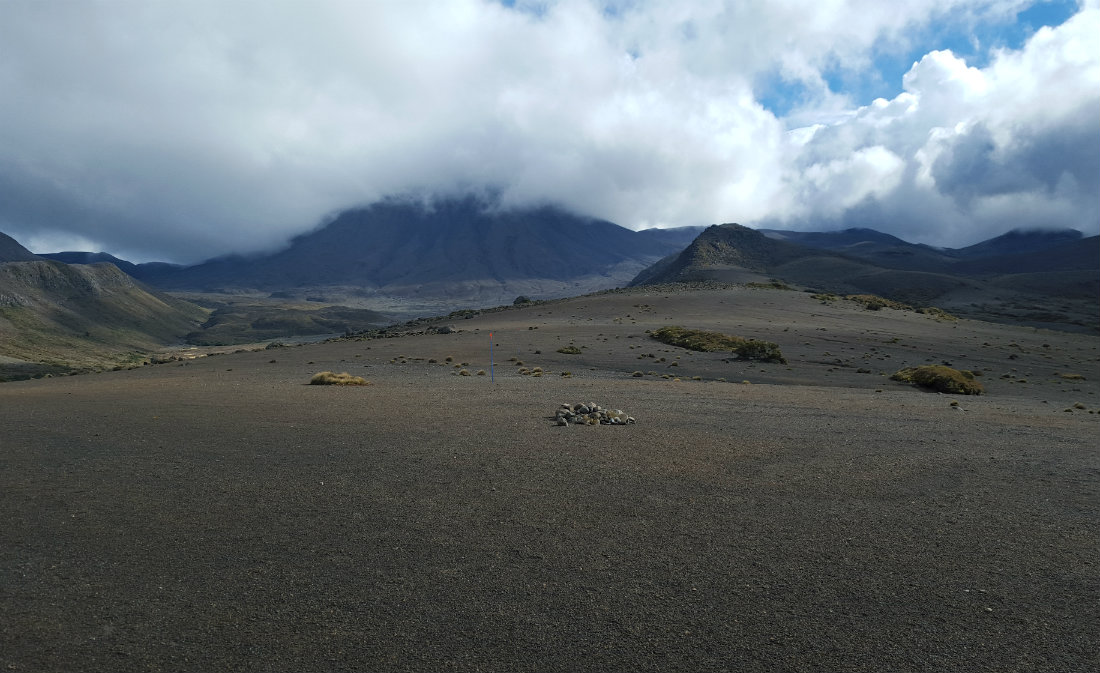 Crossing volcanic gravel fields on day two of the Tongariro Northern Circuit
