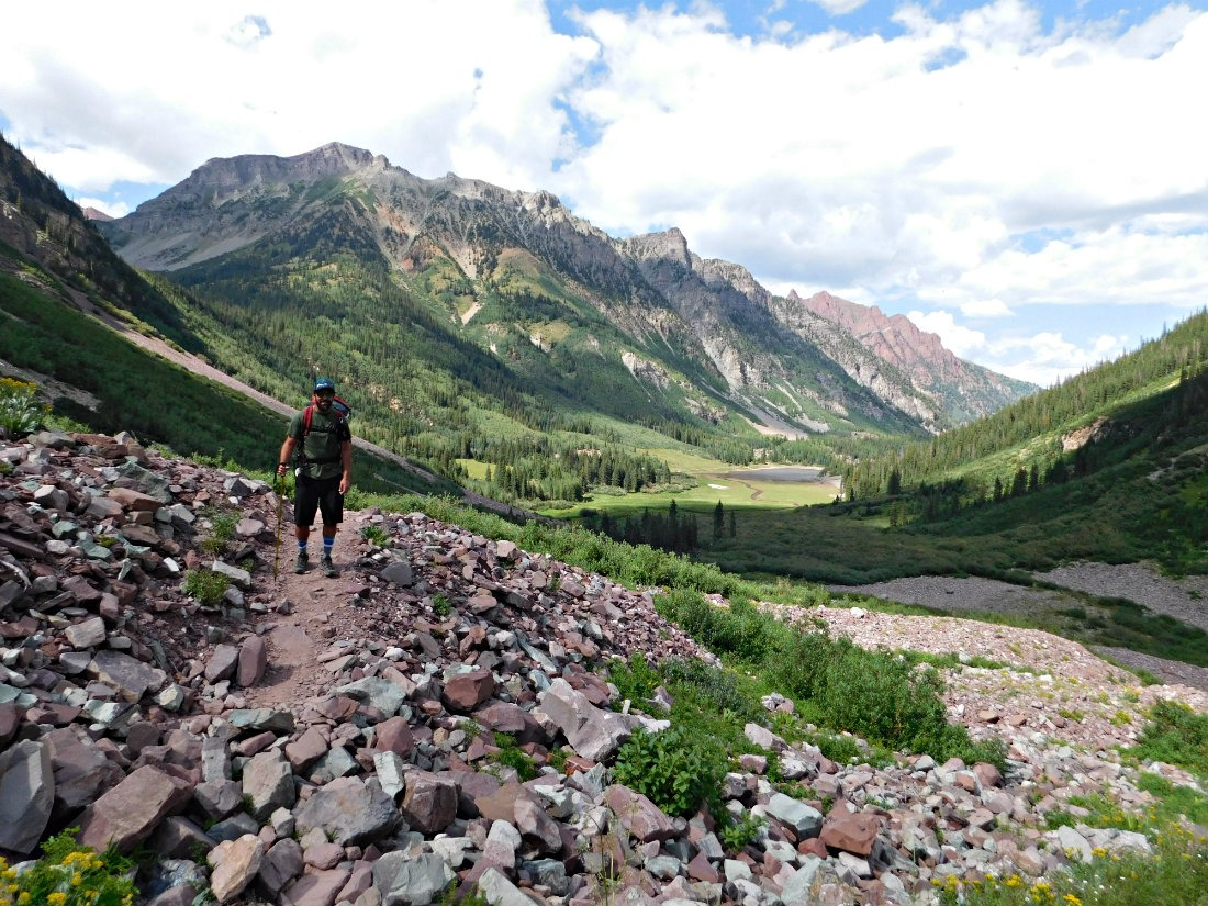 Hiking East Maroon Pass trail from Crested Butte to Aspen