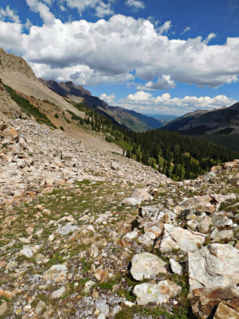 Descending East Maroon Pass on the Crested Butte to Aspen hike