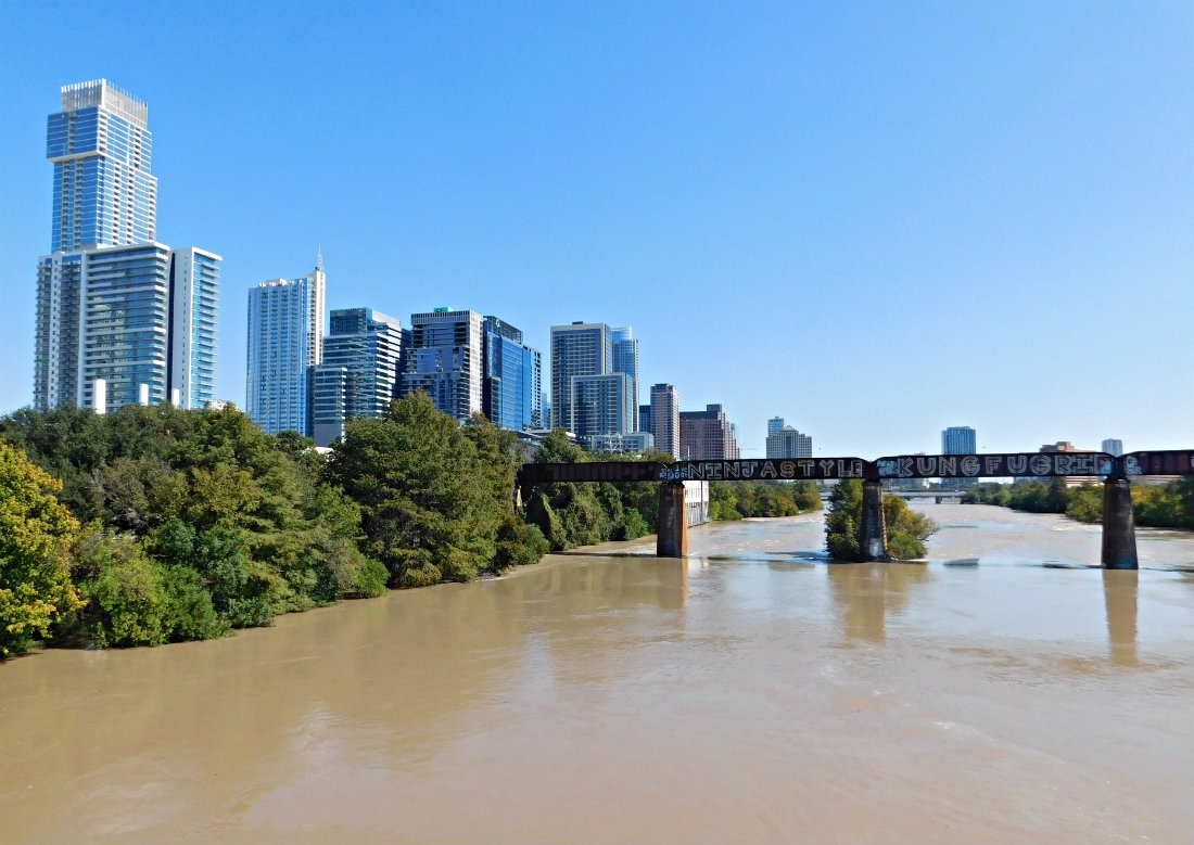 A beautiful and sunny day by the river in downtown Austin