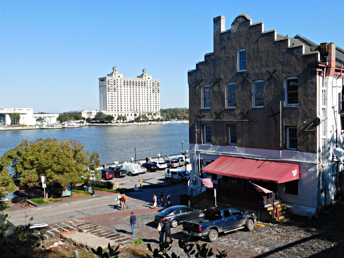 The riverfront in Savannah