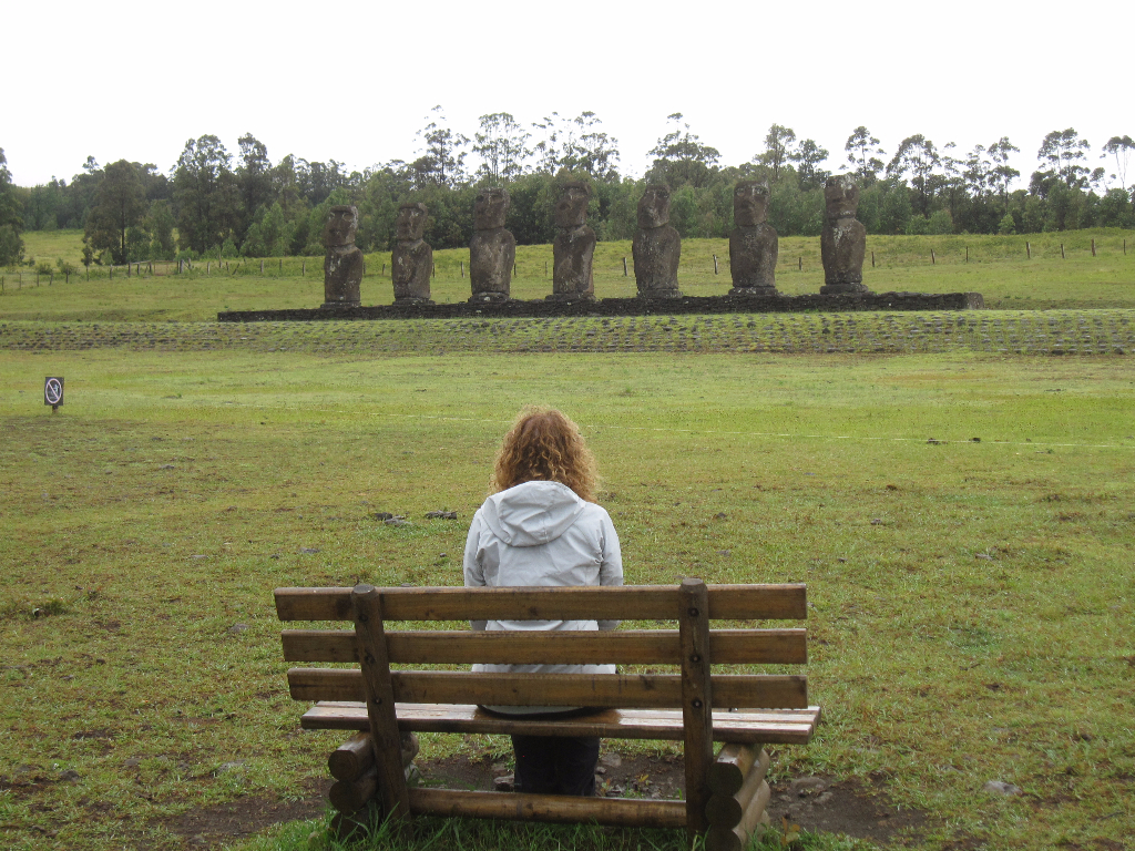 Ahu a Kivi - Facing the Pacific Ocean, these 7 Moai - Easter Island, Rapa Nui, Hanga Roa, Isla de Pascua, Chile, South America