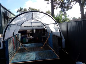 The Wedge Worm Farm - fitting shade cloth 3 wm
