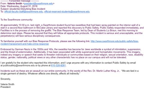 Swarthmore President Letter