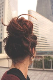 latest and cute messy bun hairstyle