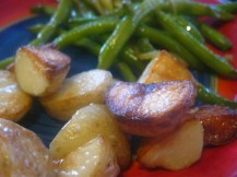 Roasties and green beans