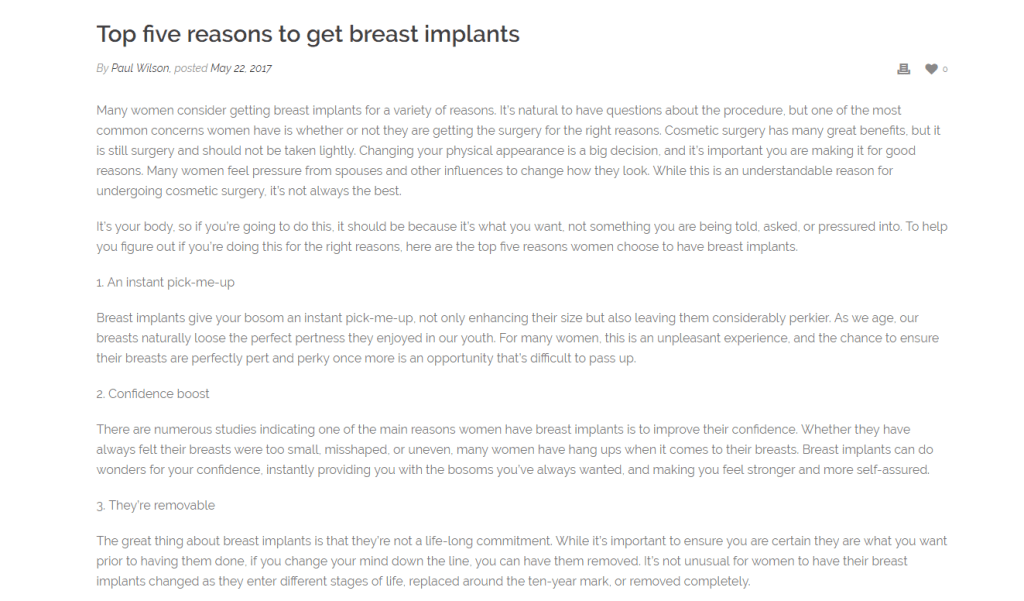 Top Five Reasons To Get Breast Implants
