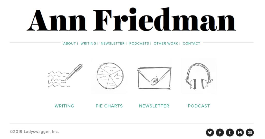 Screenshot of writer Ann Friedman's website
