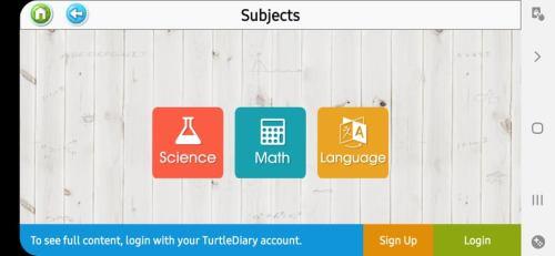 المواد التعليمية في تطبيق Turtle Diary