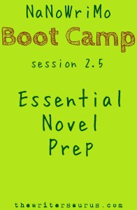 NaNoWriMo Boot Camp session 2.5: Essential Novel Prep. Only on #TheWritersaurus. #amwriting #nanowrimo