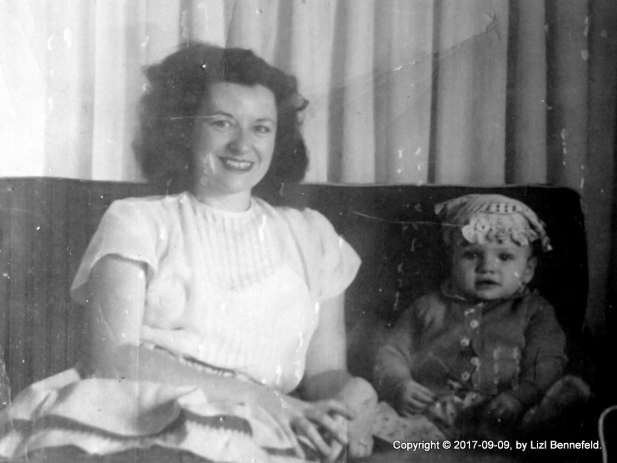 Mother and me, doily on my head