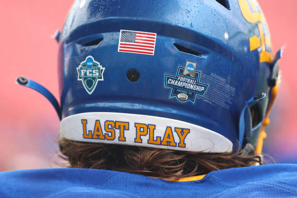 FRISCO, TX - MAY 16: The FCS logo sits on the back of a South Dakota State Jackrabbits helmet before the game between the South Dakota State Jackrabbits and the Sam Houston State Bearkats during the Division I FCS Football Championship held at Toyota Stadium on May 16, 2021 in Frisco, Texas. (Photo by C. Morgan Engel/NCAA Photos via Getty Images)