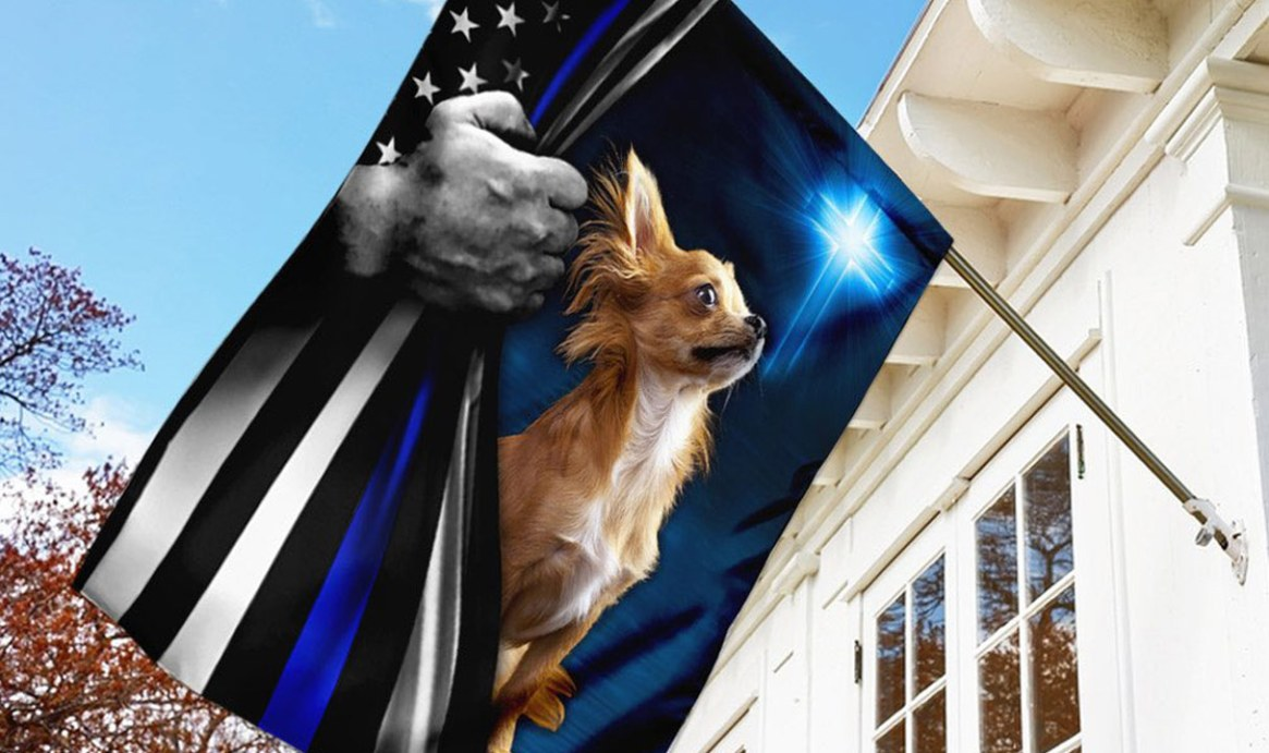 Blue Lives Matter flag with cross and Chihauha